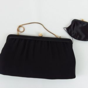 Vtg Henry Levine Black Bag Clutch w/ Coin Purse